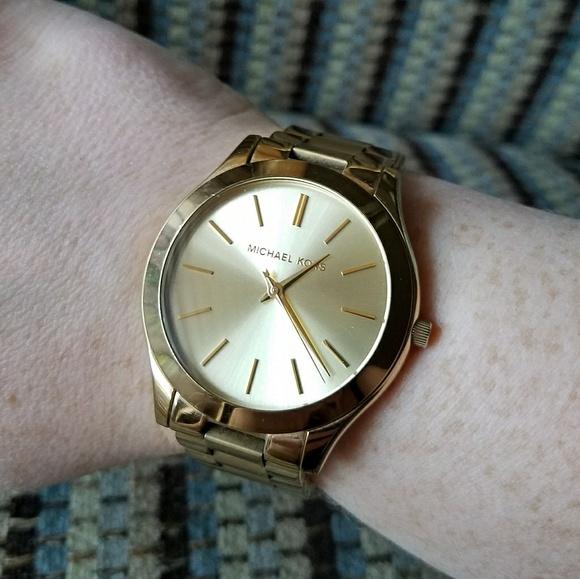 58a3cbb2da75 Michael Kors Slim Runway Gold Tone watch MK3179. M 5a57743131a3766574012049
